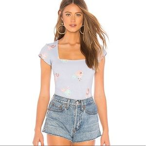 NWT FREE PEOPLE Square Eyes Bodysuit Chambray Blue